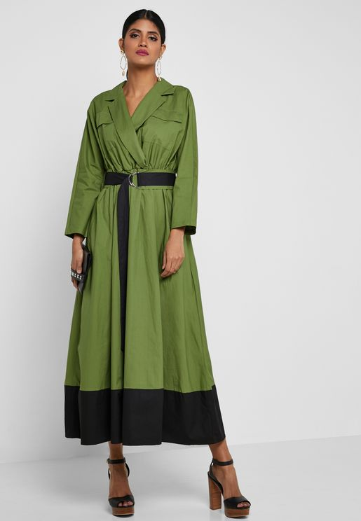 Colorblock Belted Maxi Dress