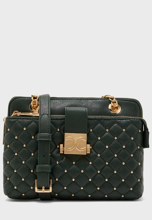 Embellished Front Zip Pocket Crossbody