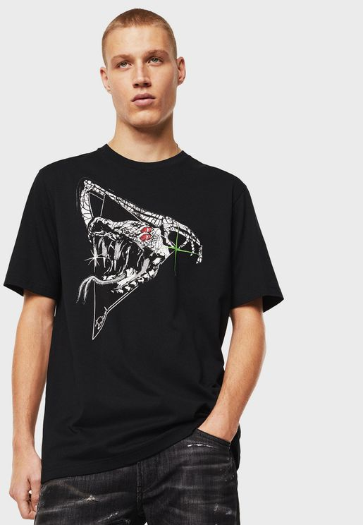 Cracked Snake Print Crew Neck T-Shirt