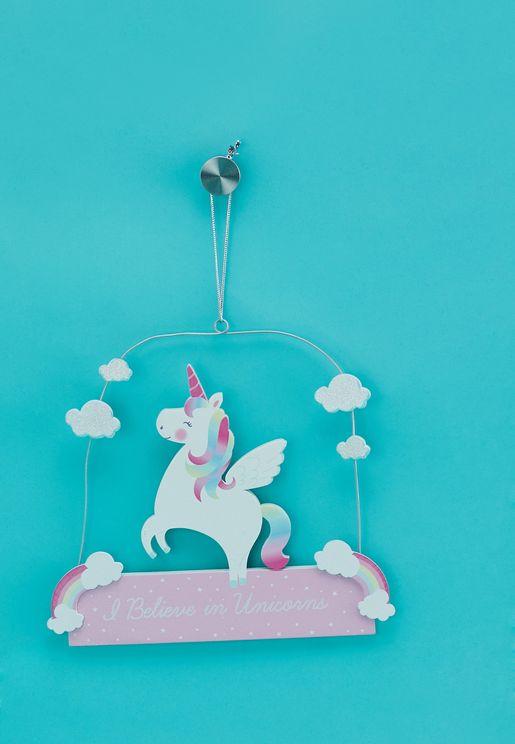 Rainbow Unicorn I Believe Plaque