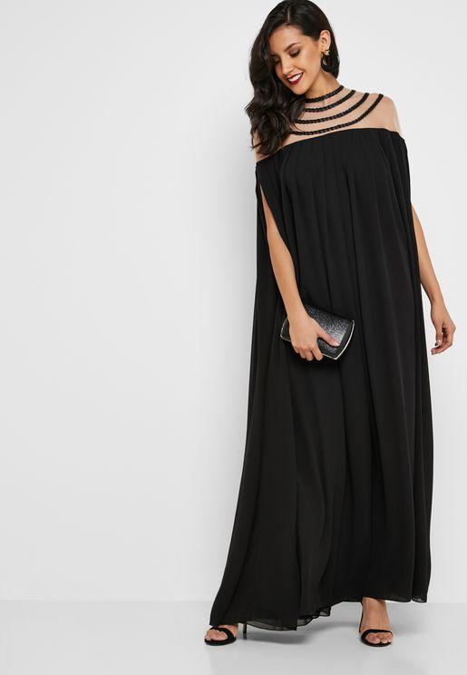 Sheer Detail Pleated Maxi Dress
