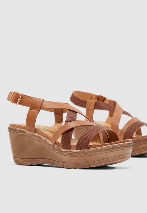 Buckle Wedge Sandal