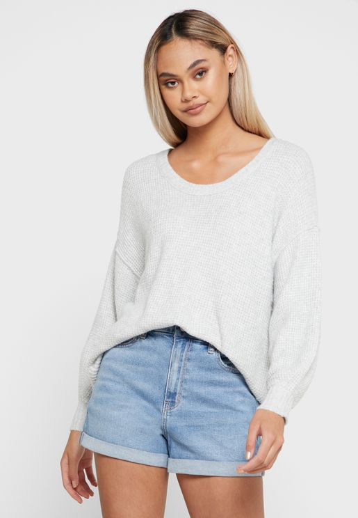 Scoop Neck Knitted Sweater
