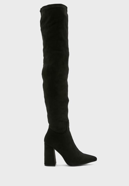 Over The Knee Pointed Heel Boot