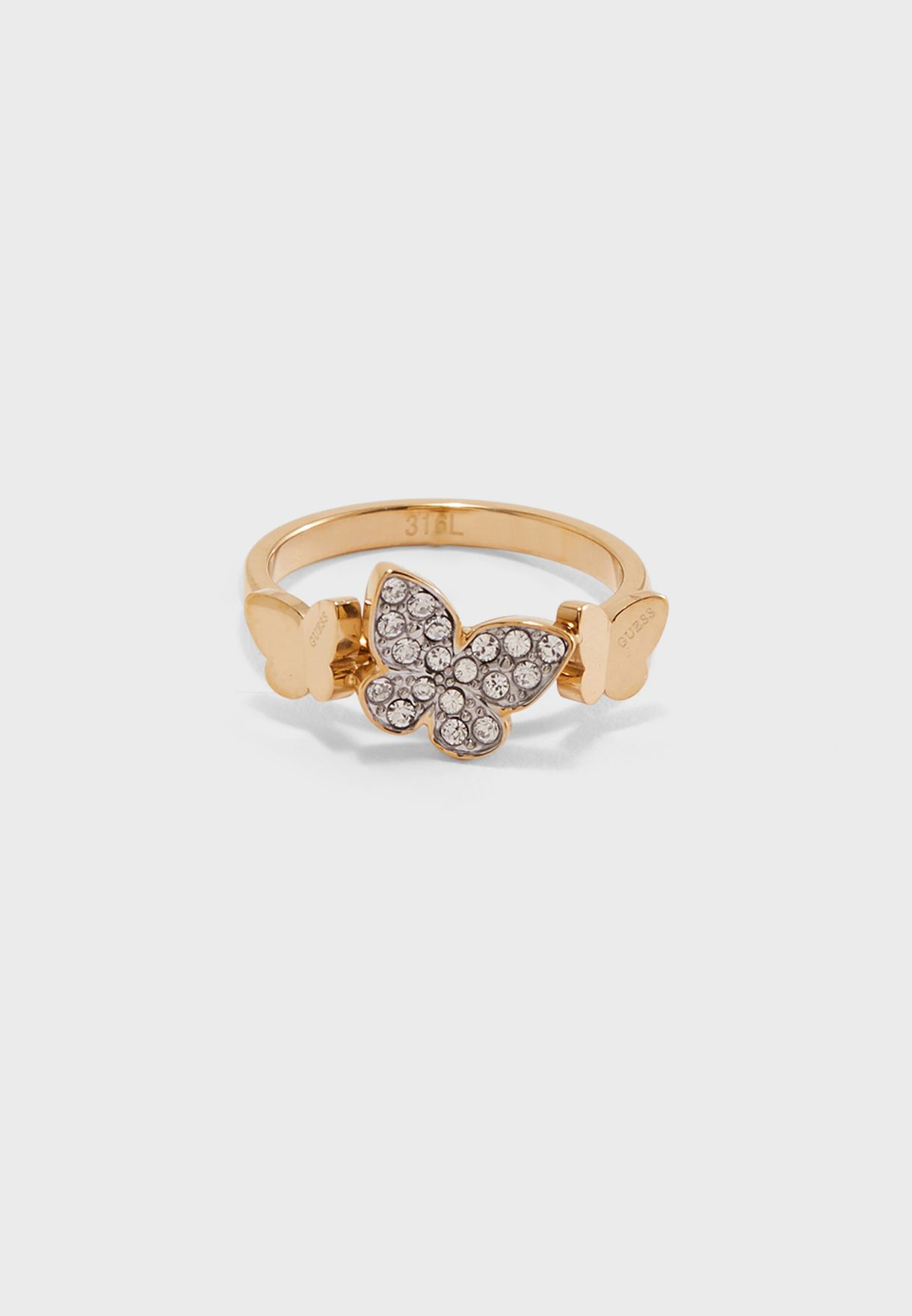 Butterfly and Crystal Ring