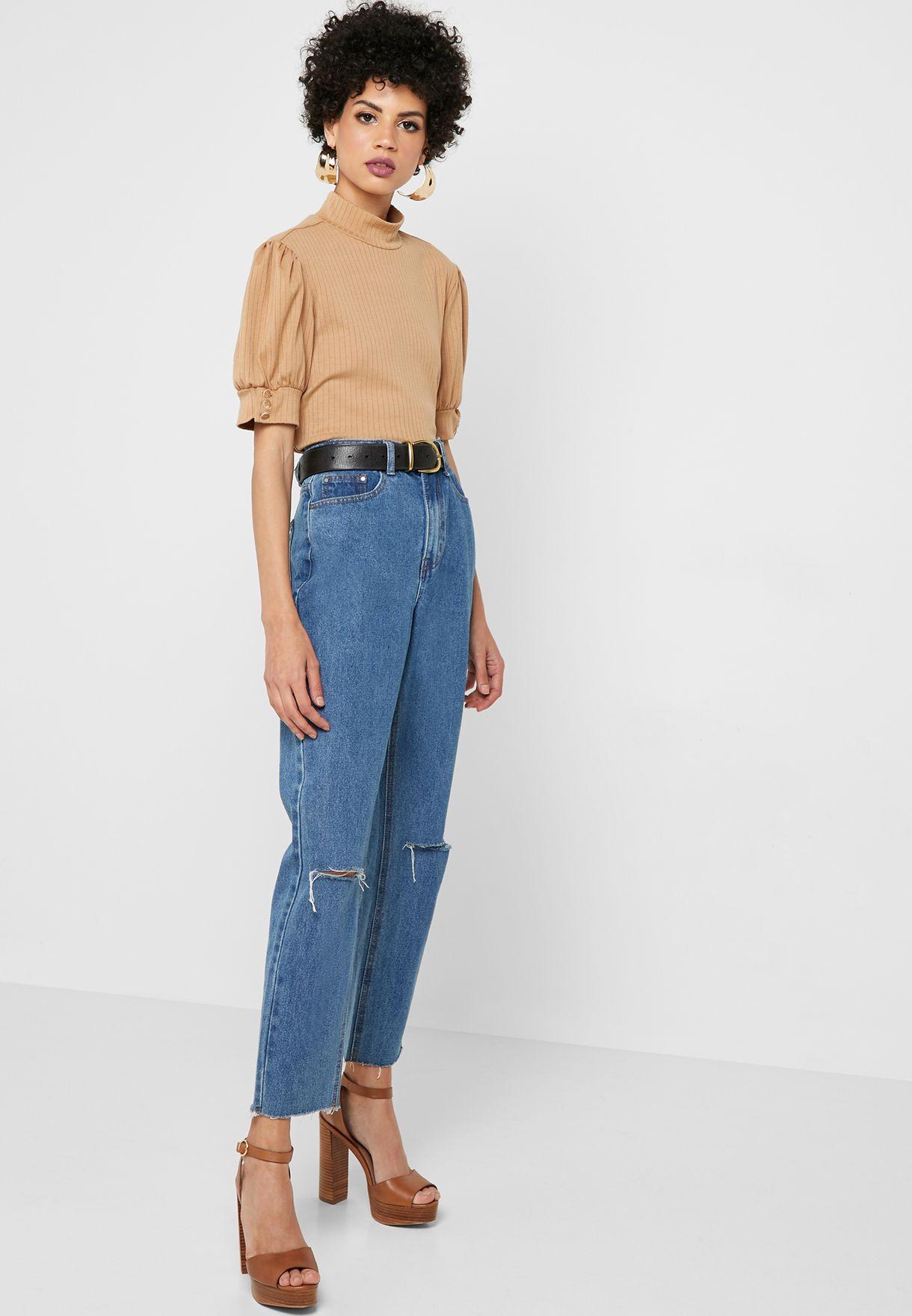 Ripped Raw Hem High Waist Mom Jeans