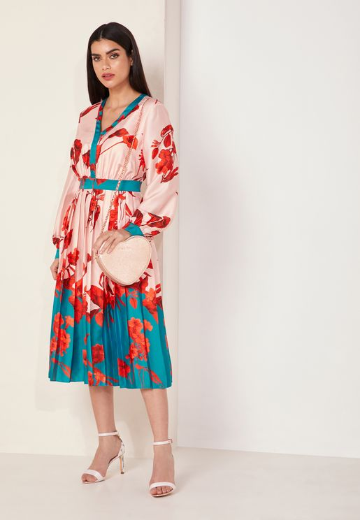 Fantasia Floral Print Pleated Tie Neck Dress