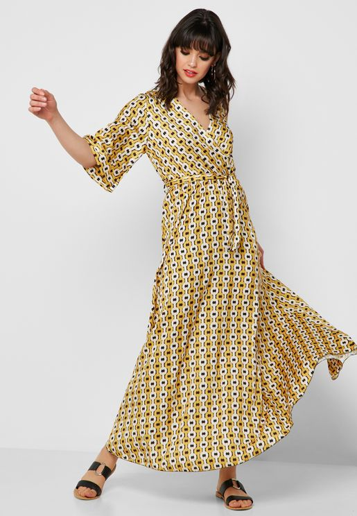 Chain Print Wrap Front Maxi Dress