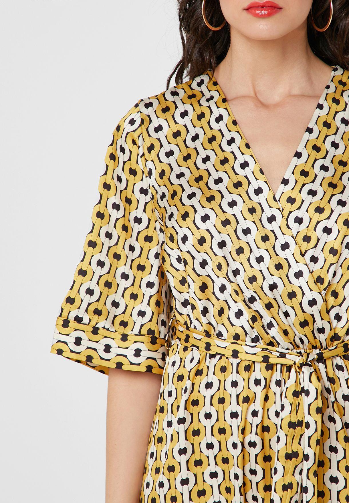 Chain Print Wrap Front Maxi Dress