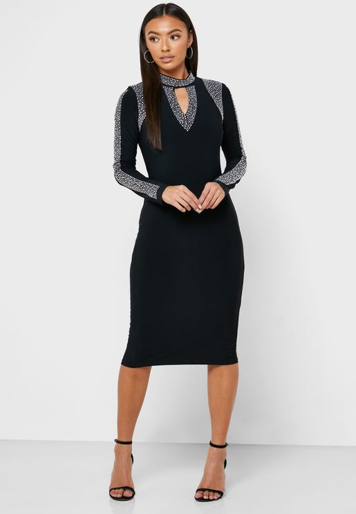 Front Keyhole Embellished Trim Dress