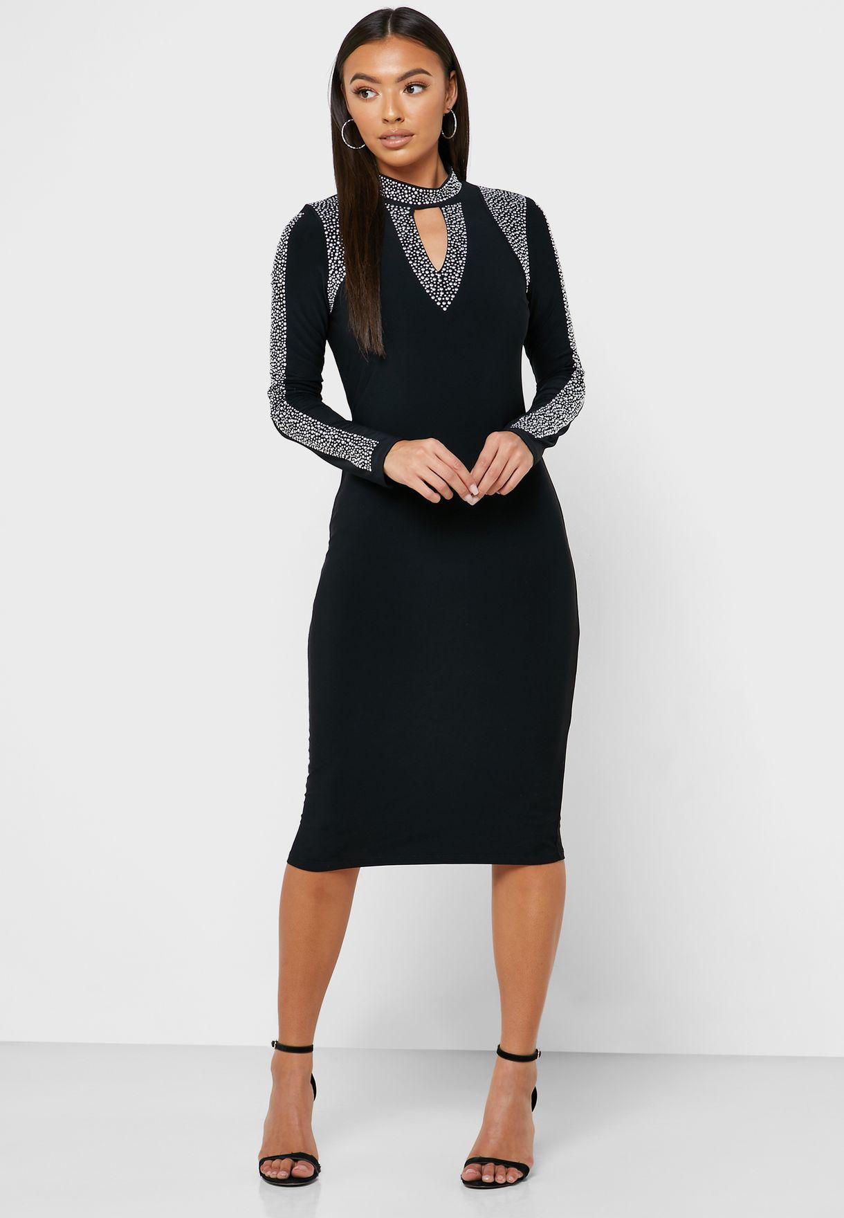 Front Keyhole Embellished Trim Dress