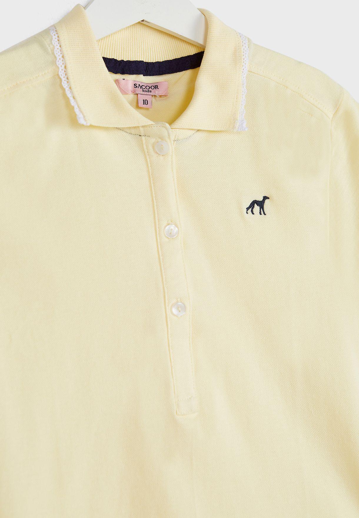Kids Lace Detail Collar Polo