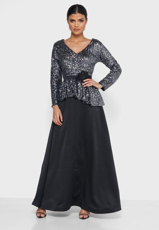 Shimmer Pleated Detail Dress
