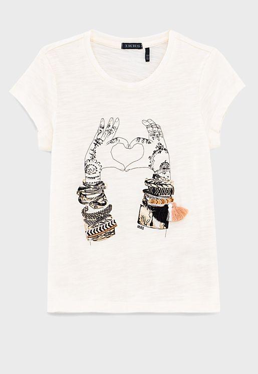 Youth Hand Heart Print T-Shirt