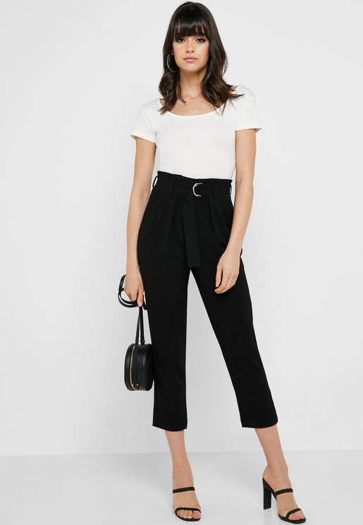 Paperbag Waist Belted Pants