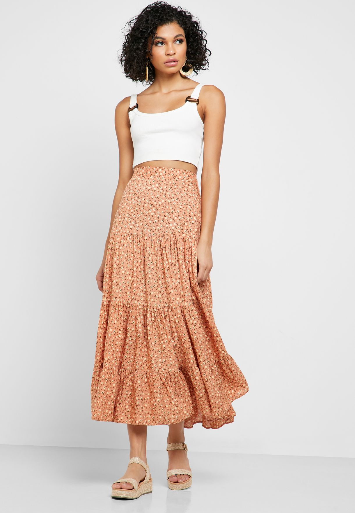 Printed Tiered Midaxi Skirt