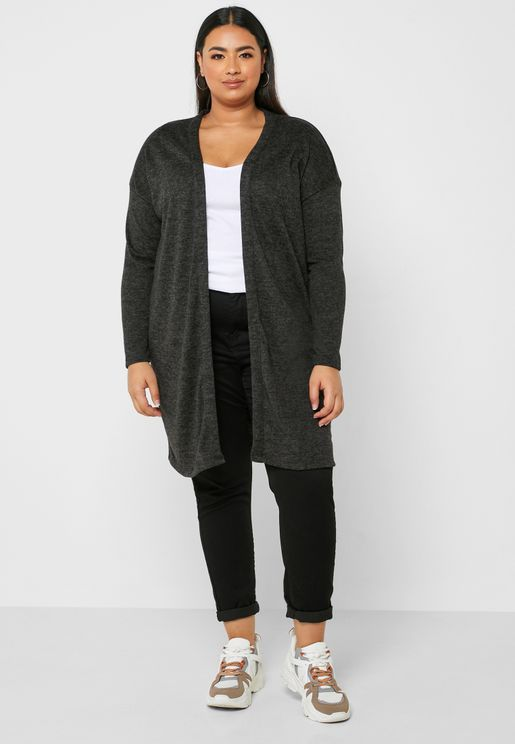 Balloon Sleeve Longline Cardigan