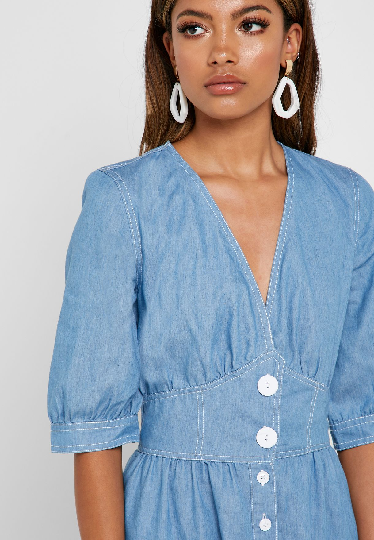 Denim Button Down Midi Dress