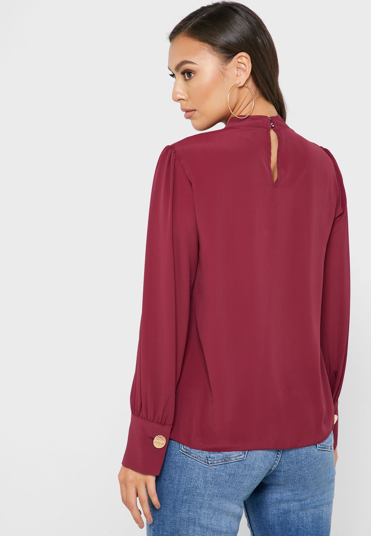 Front Keyhole Pleated Top