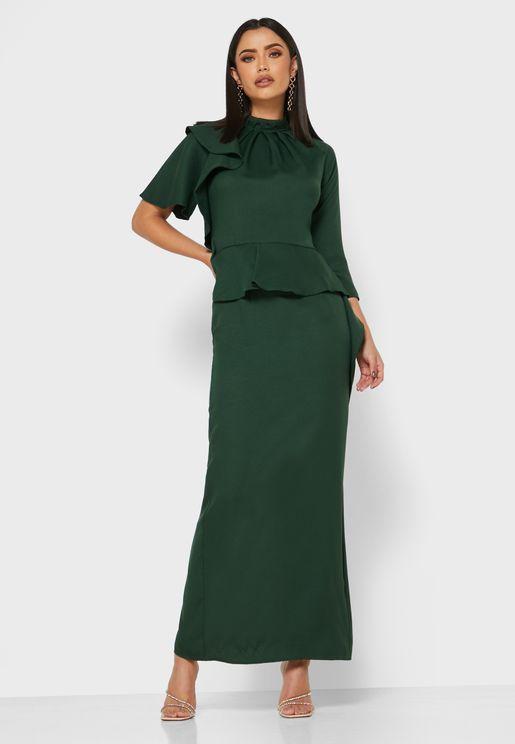 High Neck Overlay Dress
