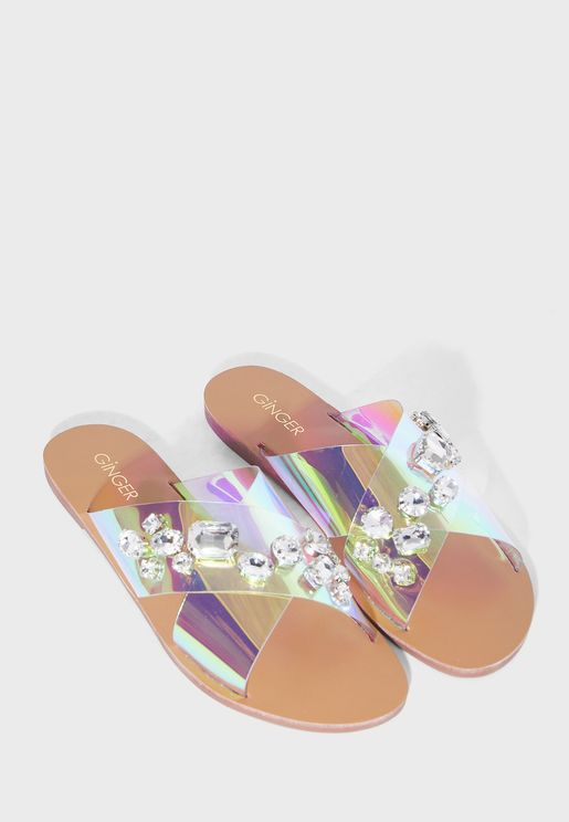 Jewelled Clear Strap Sandals