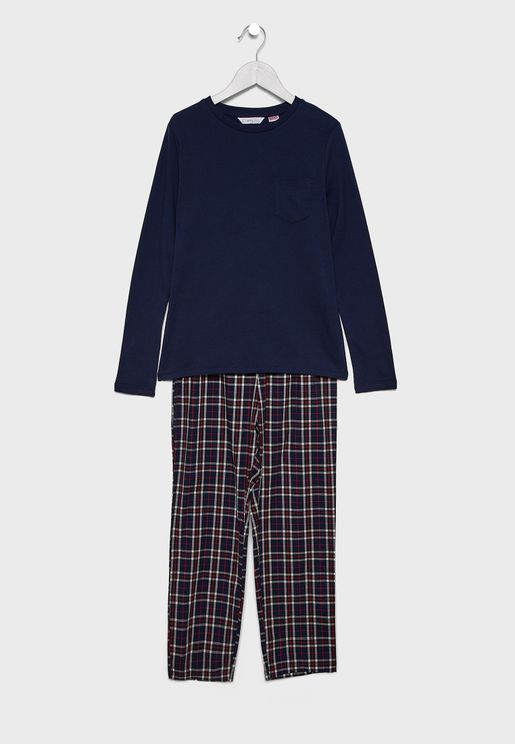 Kids Pocket Detail T-Shirt + Checked Pyjama Set
