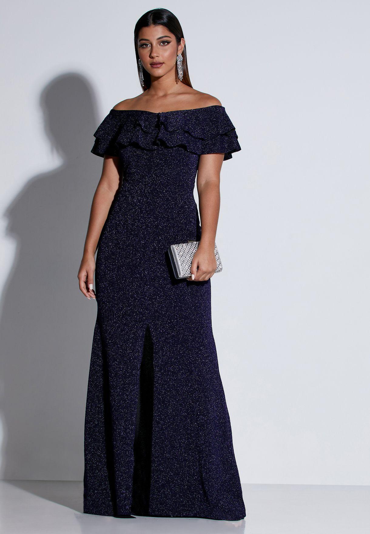 Glitter Ruffle Bardot Maxi Dress