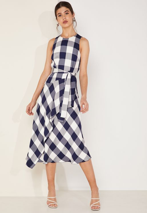 Checked Belted Midi Dress