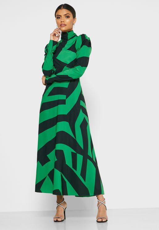 فستان ميدي بنمط كتل الالوان