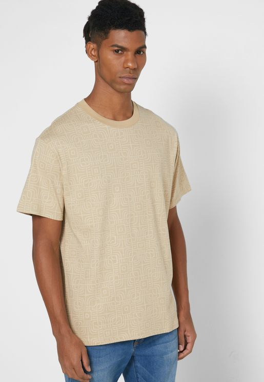 Optical Pattern Crew Neck T-Shirt
