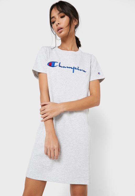 Reverse Weave Script T-Shirt Dress