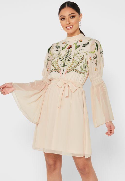 Flute Sleeve Embellished Dress