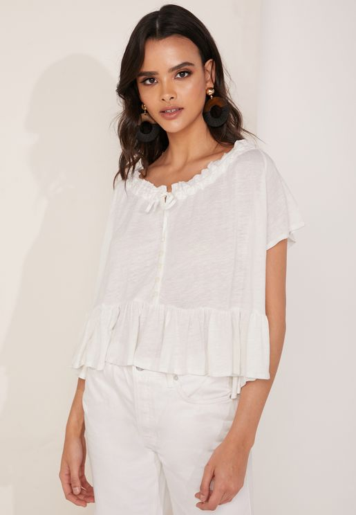 d6b59a43c2ca64 Charlie Tie Front Smock Top