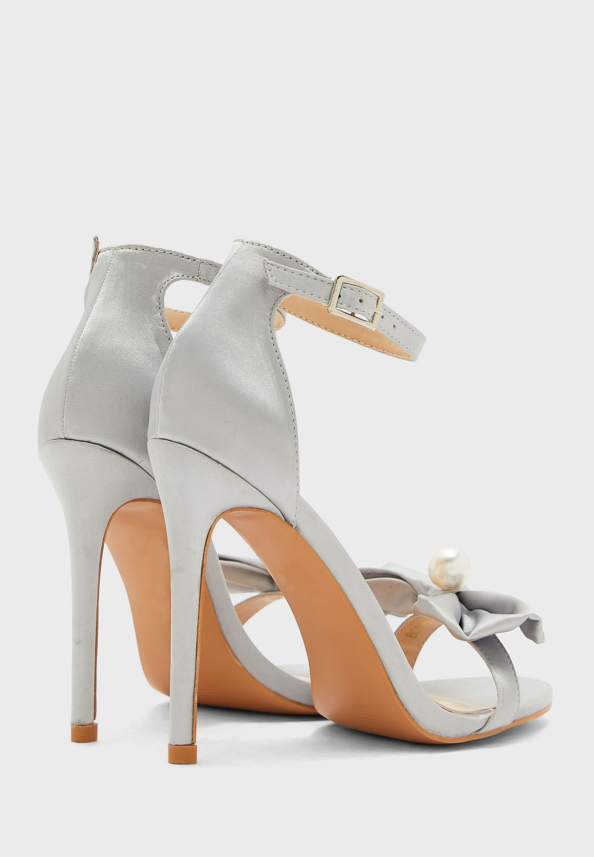 Bow and Stone Detail Ankle Strap Stiletto Sandal