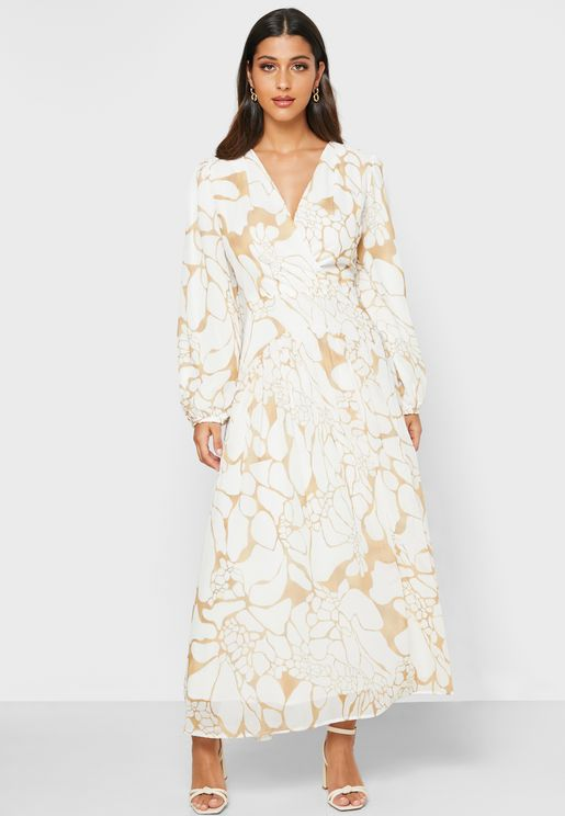 Balloon Sleeve Printed Dress