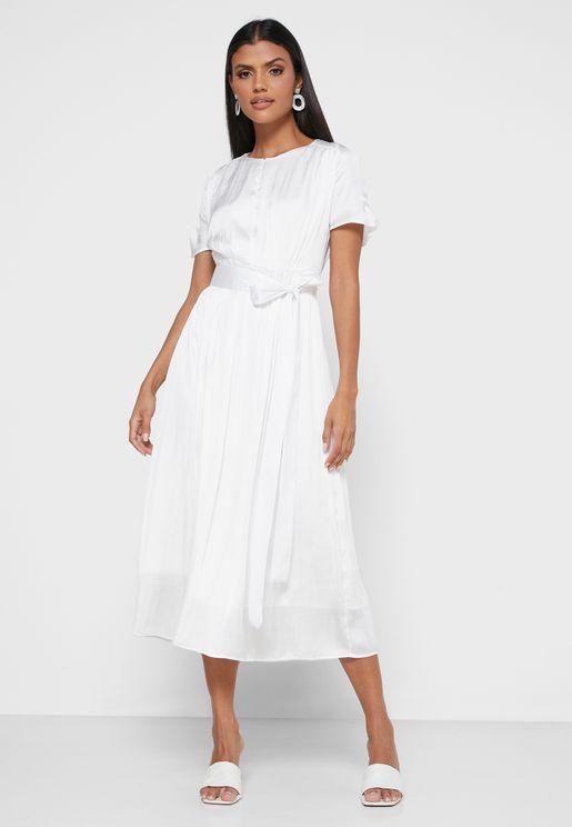 Empire Waist Pleat Dress