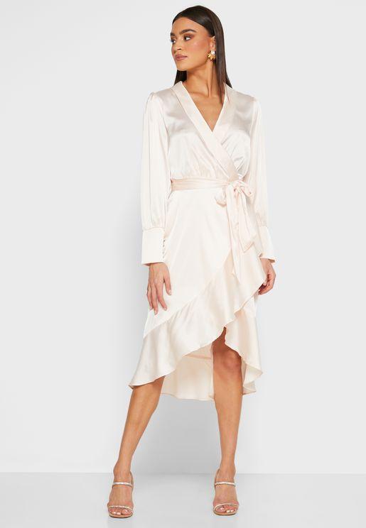 Wrap Front Ruffle Hem Midi Dress
