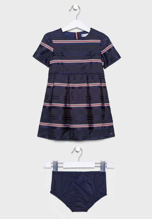 Infant Striped Dress + Knicker Set