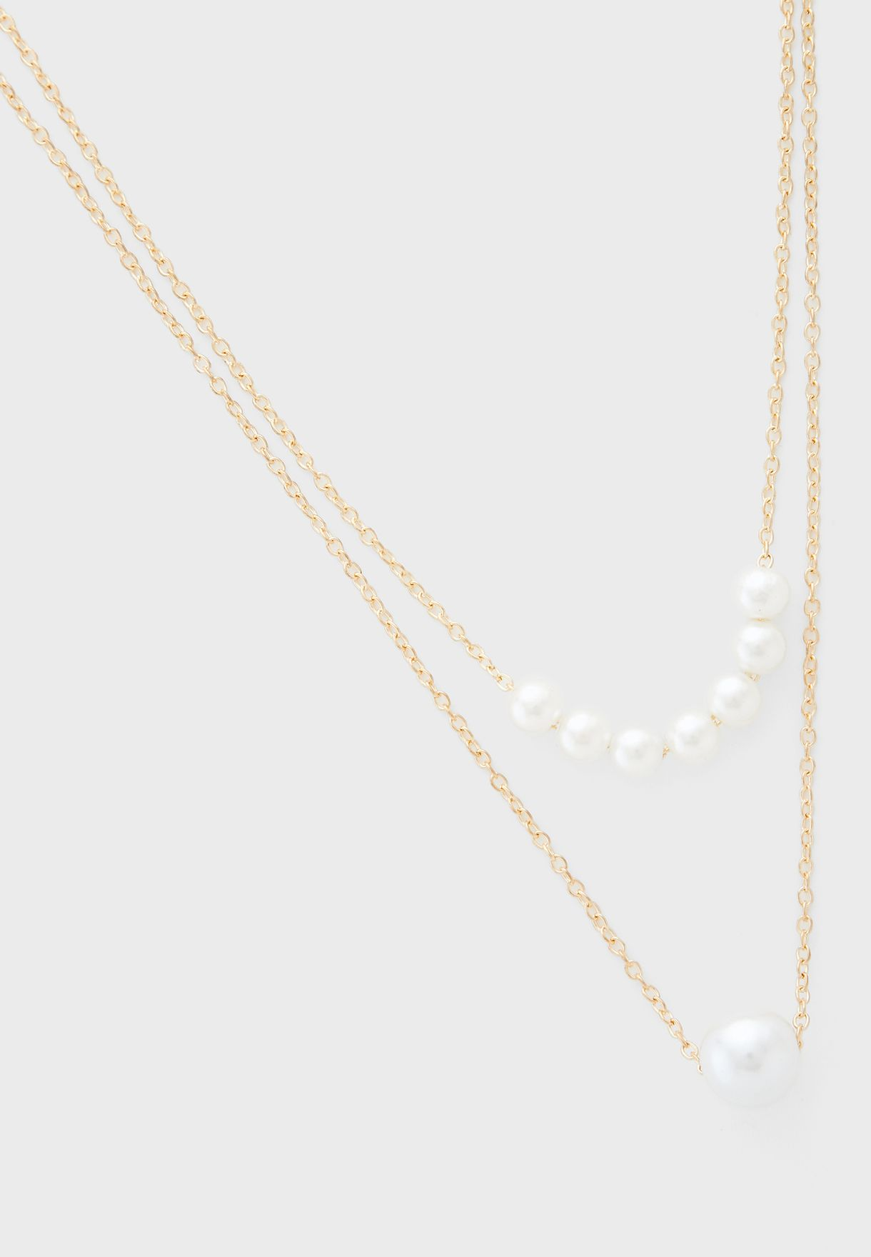 Long Double Layer Pearl Detail Necklace