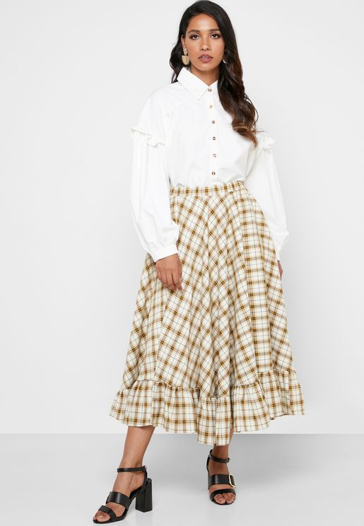 Flared Checked Skirt