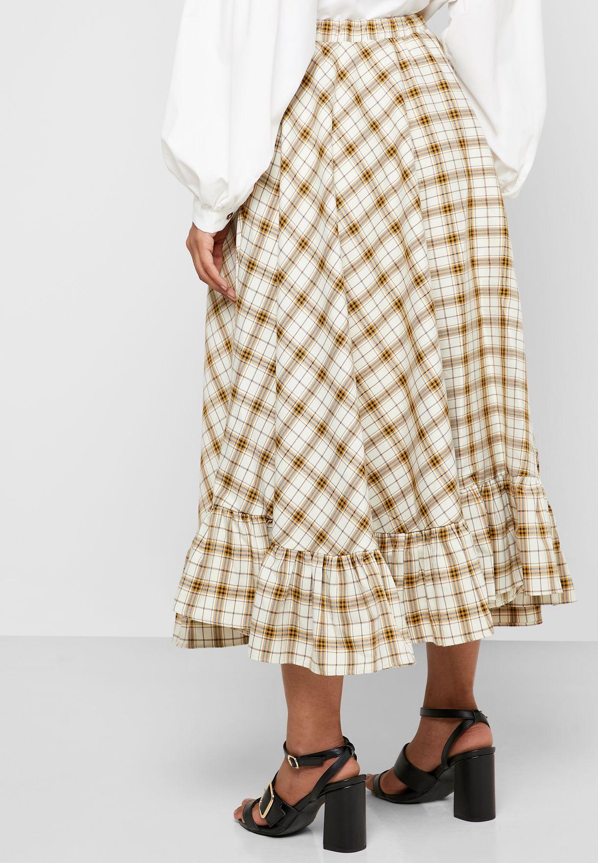 Flared Checked Skirt