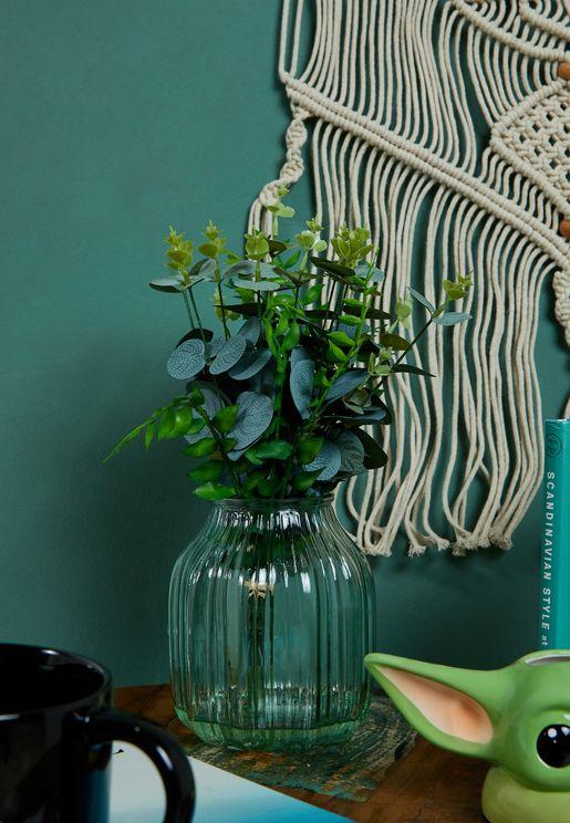 Faux Ferns & Eucalyptus Stems in Glass Vase