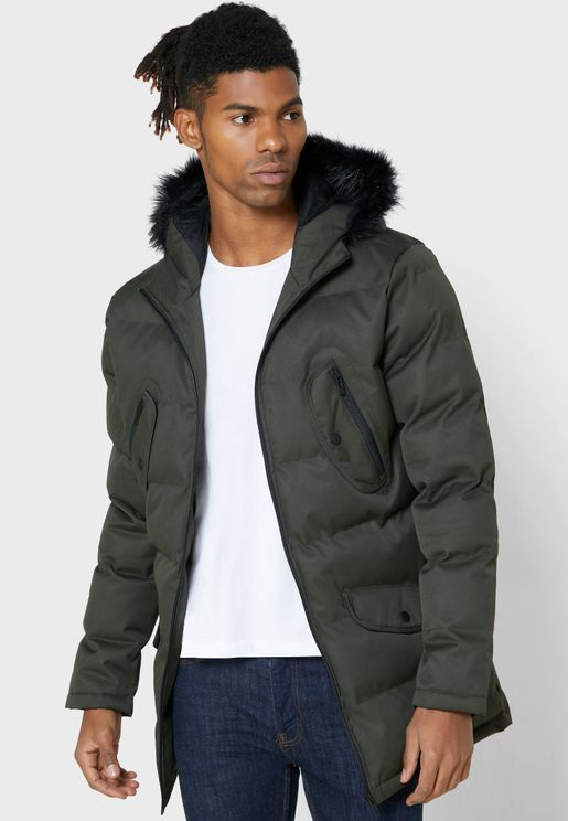Parka Jacket with Faux Fur