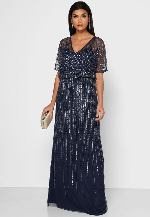 Sequin Detail Mesh Dress