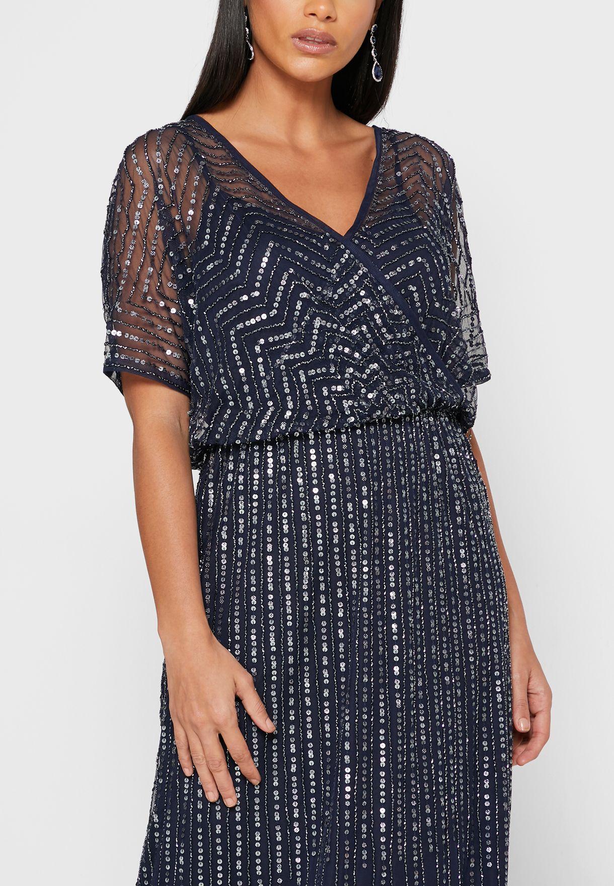 فستان شبك مزين بالترتر