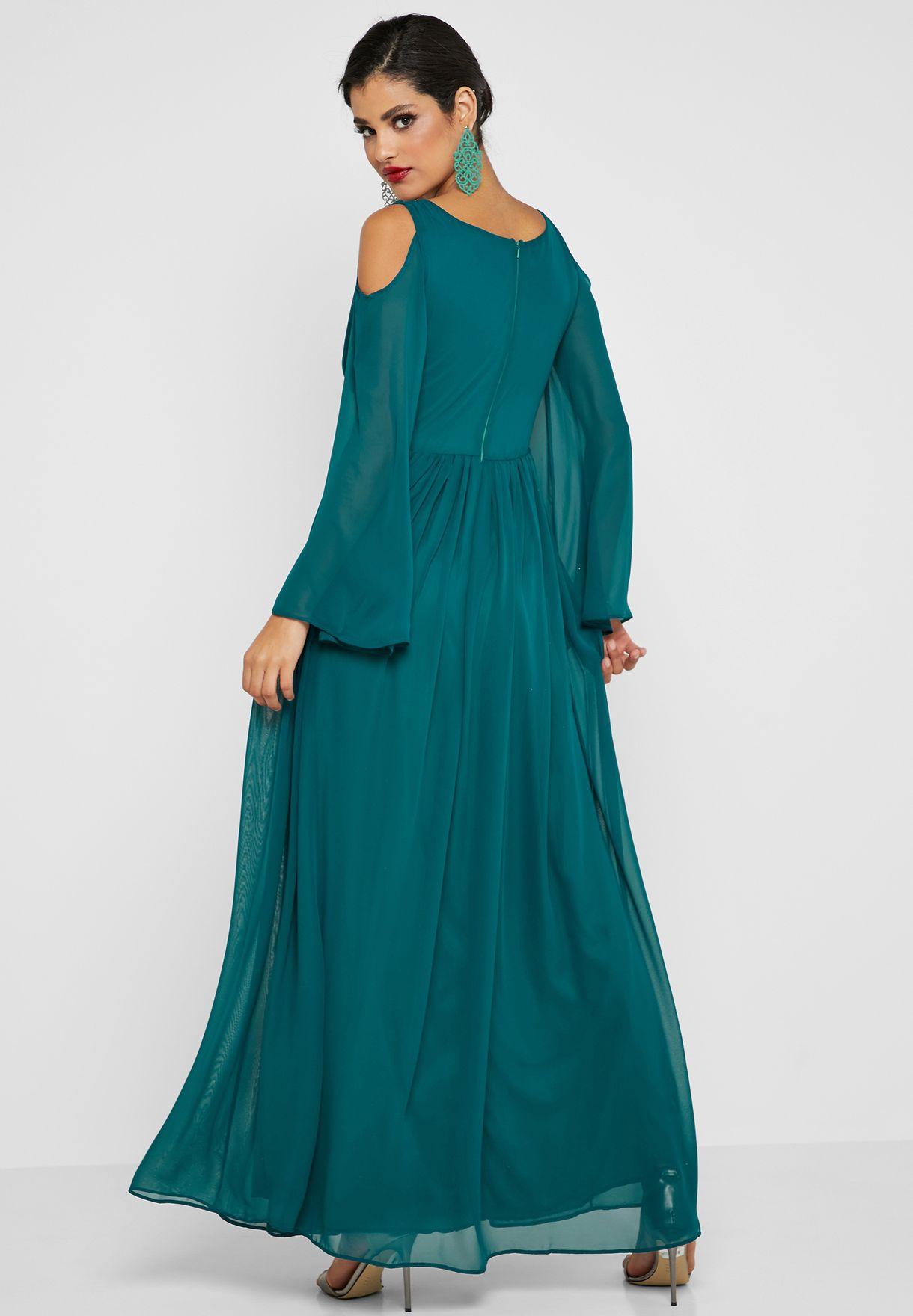 Cold Shoulder Detail Waist Maxi Dress