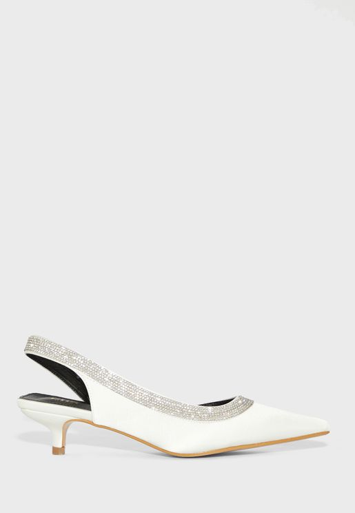 Pointed Embellished Trim Slingback Pump