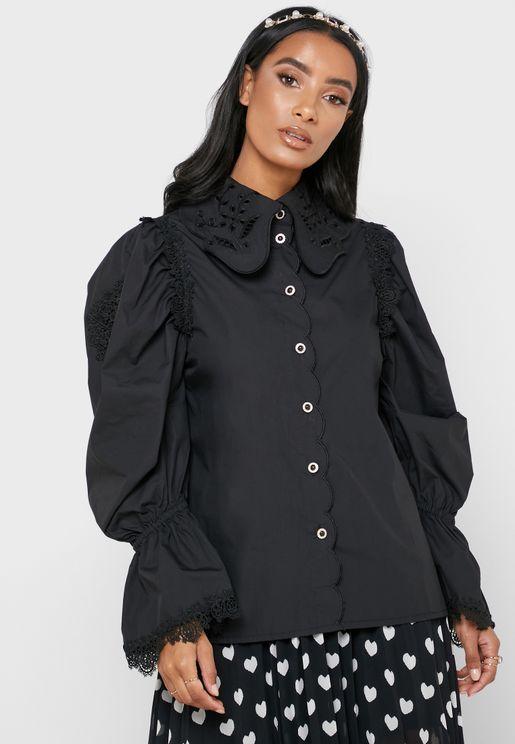 Scallop Detail Lace Trim Shirt