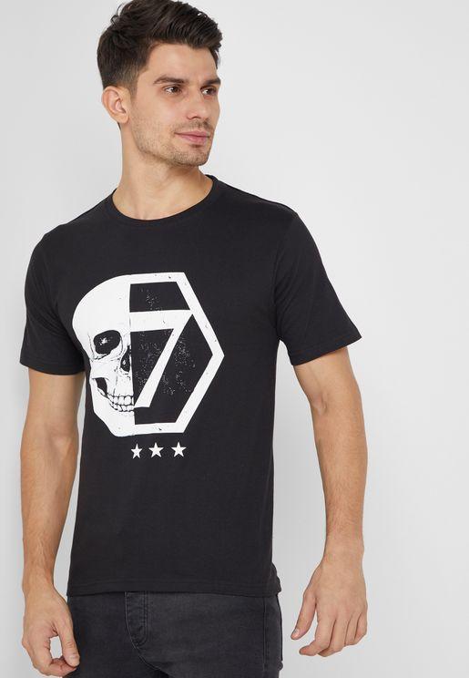 Skull Seven Print Crew Neck T-Shirt