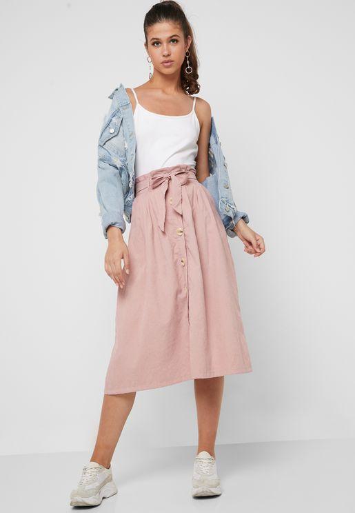 Button Down Self Tie Midi Skirt